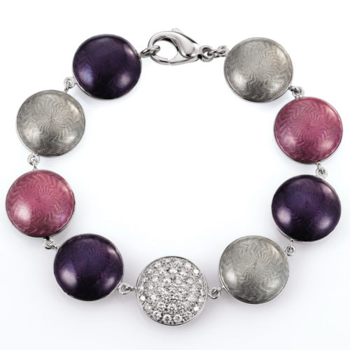 Gold bracelet with diamonds and pink, purple and silver enameled guilloche