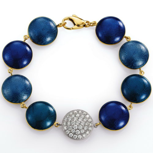 Gold bracelet with diamonds and blue and petrol enamelled guilloche