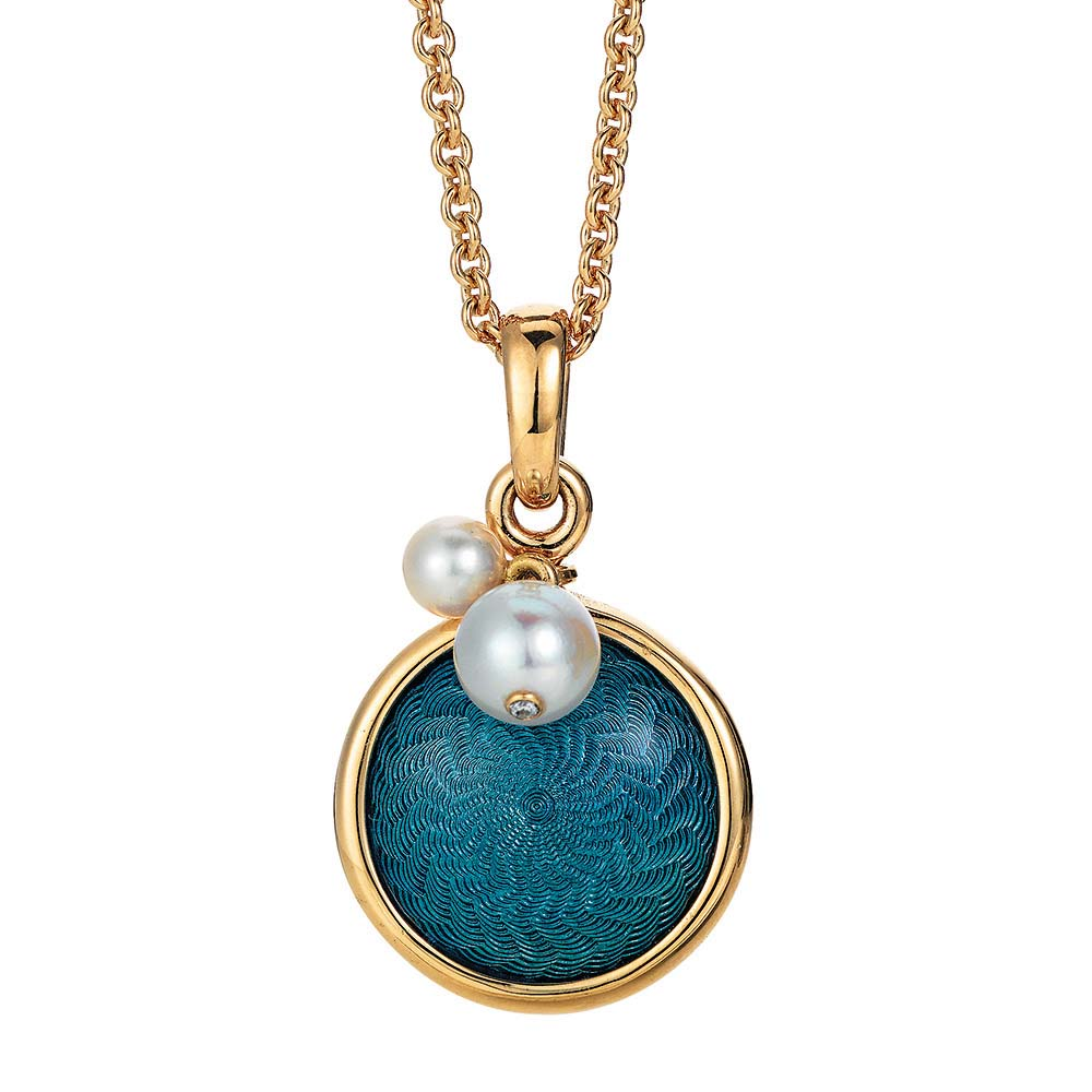 Gold pendant with blue enameled guilloche and Akoya pearls