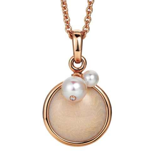 Gold pendant with pink enameled guilloche and Akoya pearls