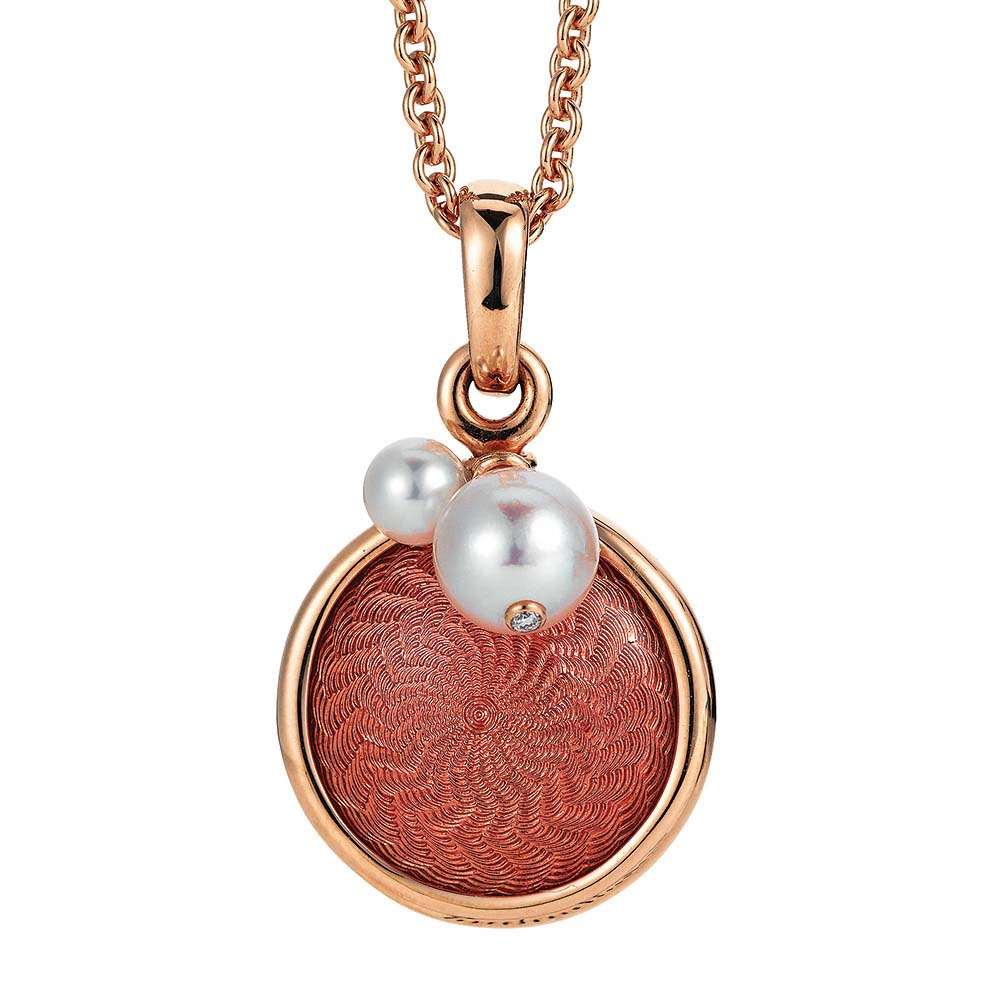 Gold pendant with red enameled guilloche and Akoya pearls