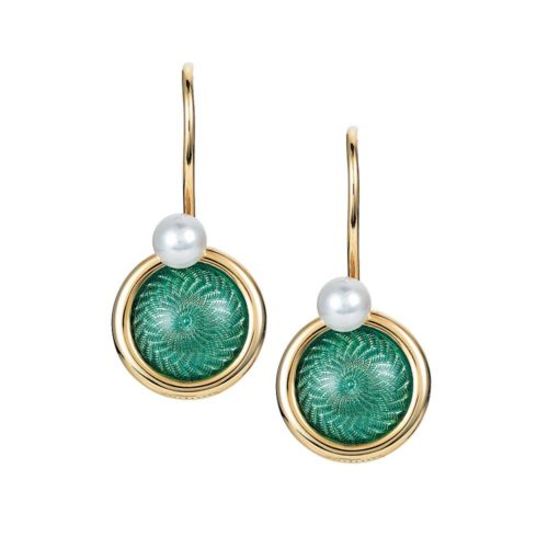 Gold earrings with green enameled guilloche and Akoya pearls