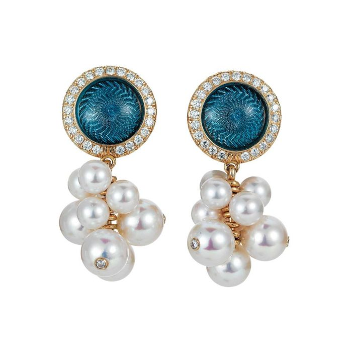 Gold earrings with blue enameled guilloche, diamonds and Akoya pearls