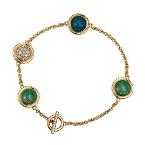 Gold bracelet with blue and green enamel on guilloche with diamonds