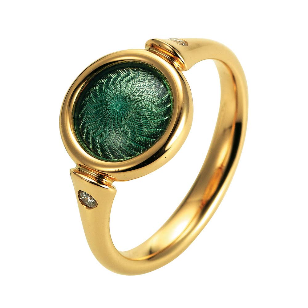 Gold ring with green enameled guilloche and diamonds