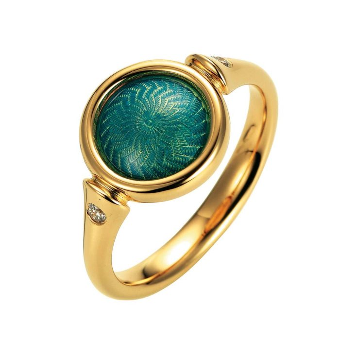 Gold ring with opal turquoise enameled guilloche and diamonds