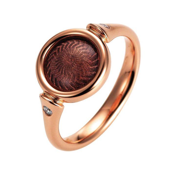 Gold-Ring mit auberginerotem emailliertem Guilloche und Diamanten