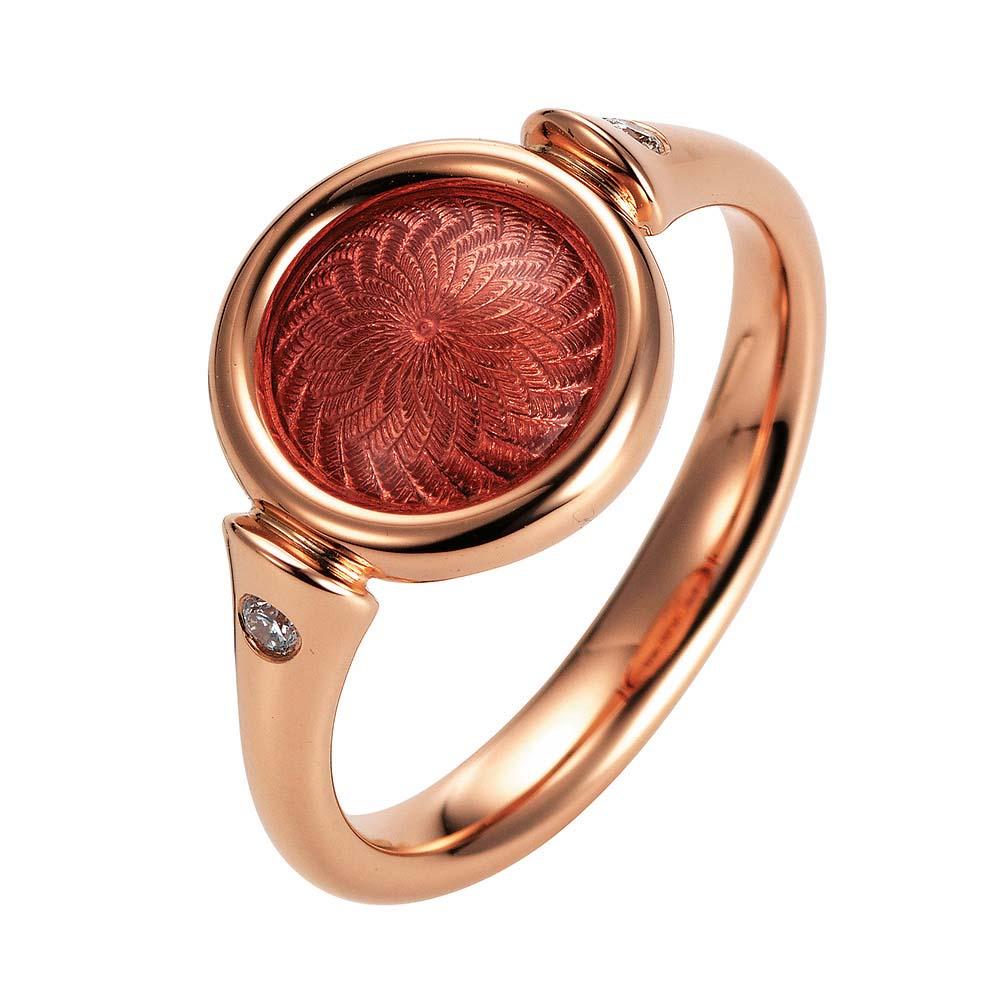Gold-Ring mit rot emailliertem Guilloche und Diamanten