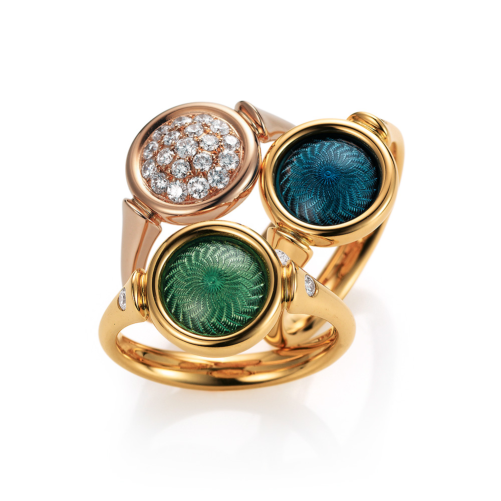 Gold ring with green or blue enamelled guilloche and diamonds