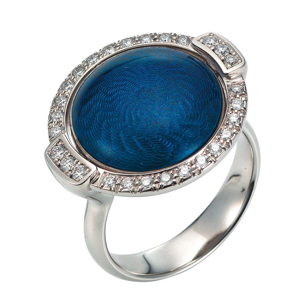 Gold ring with blue or silver enameled guilloche and diamonds around the turnable middle part
