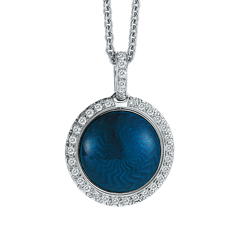 Gold pendant with blue or silver enamelled guilloche and diamonds around the turnable middle part