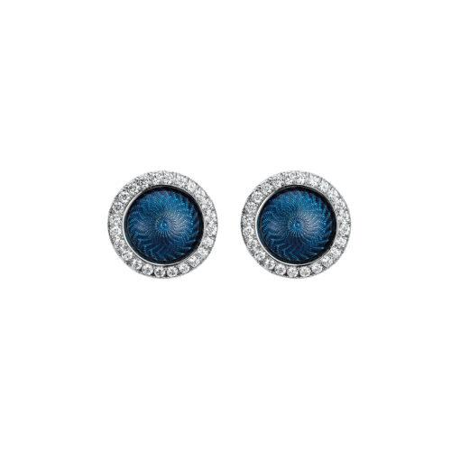 Gold-Ohrringe mit blau emailliertem Guilloche und Diamanten