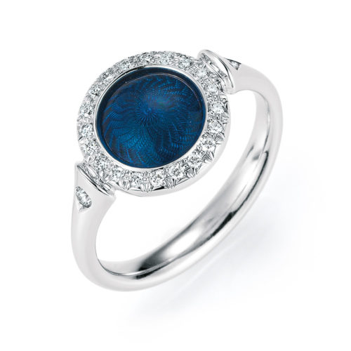 Gold ring with blue enameled guilloche with diamonds