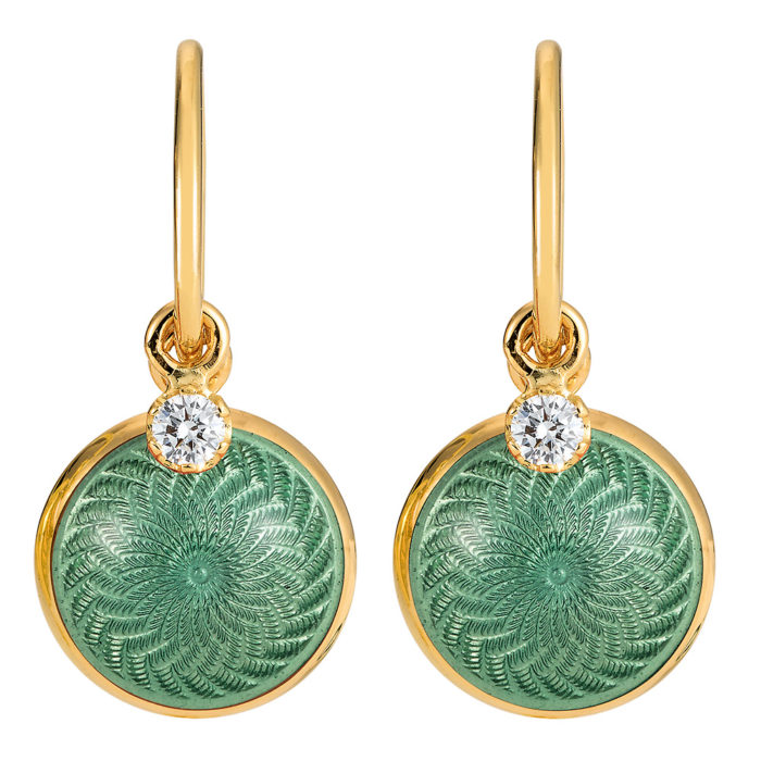 Gold earrings with green enameled guilloche and diamonds