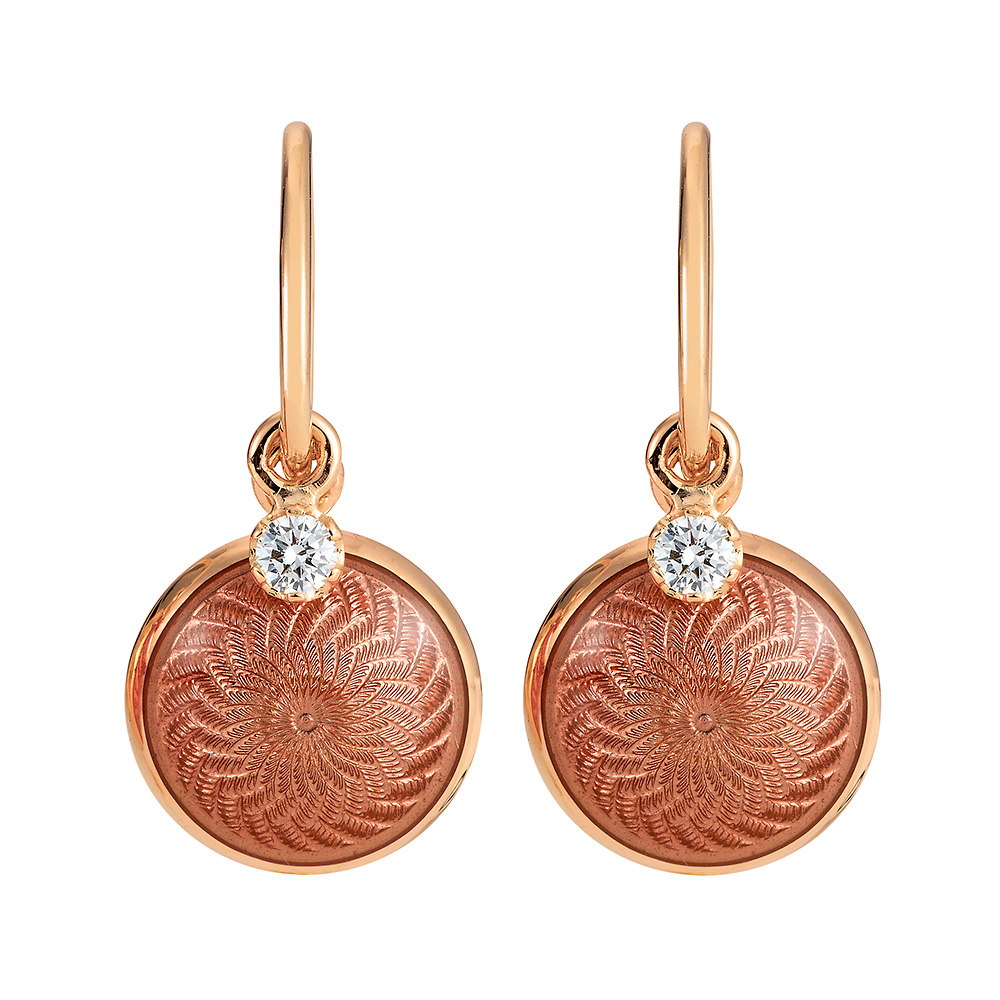 Gold earrings with red enameled guilloche and diamonds