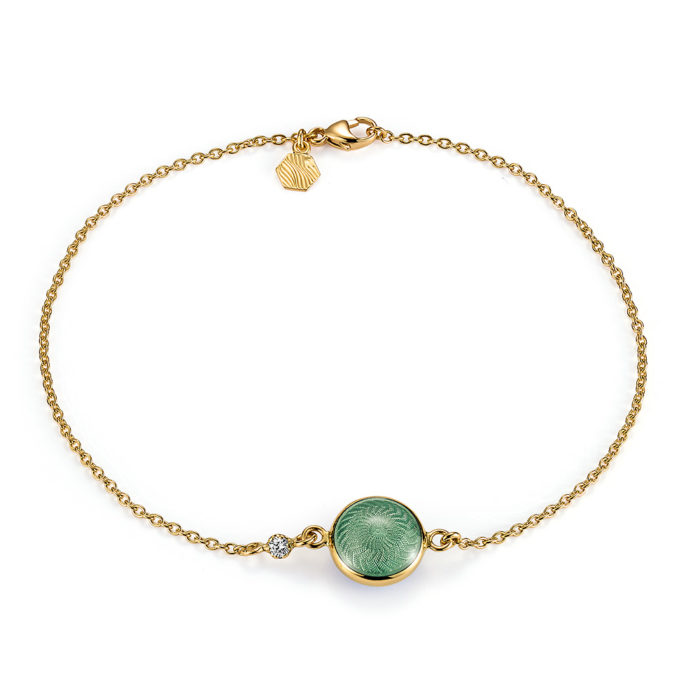 Bracelet with green enamelled guilloche and diamond