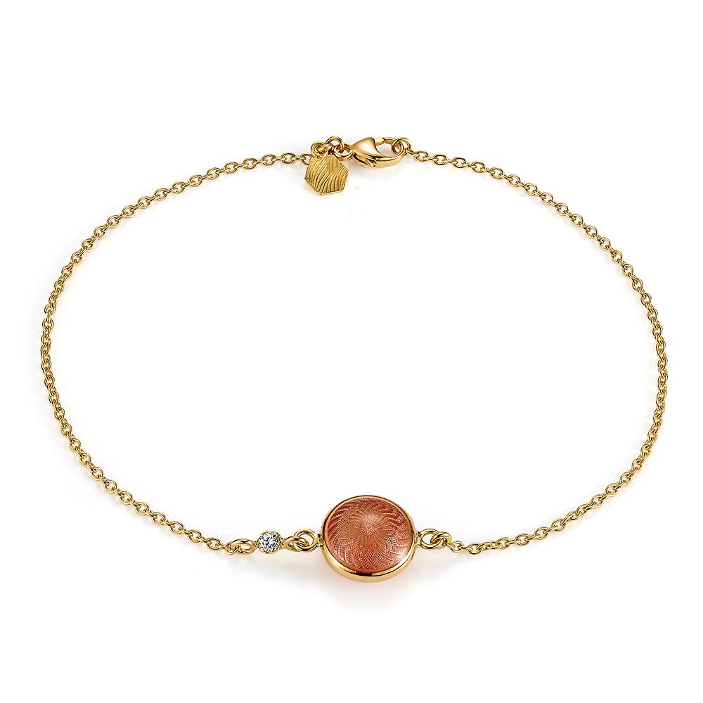 Armband mit rot emailliertem Guilloche und Diamant