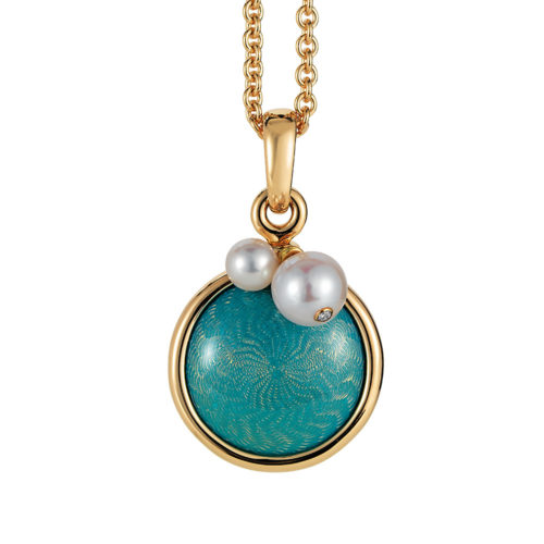 Gold pendant with turquoise enameled guilloche and Akoya pearls