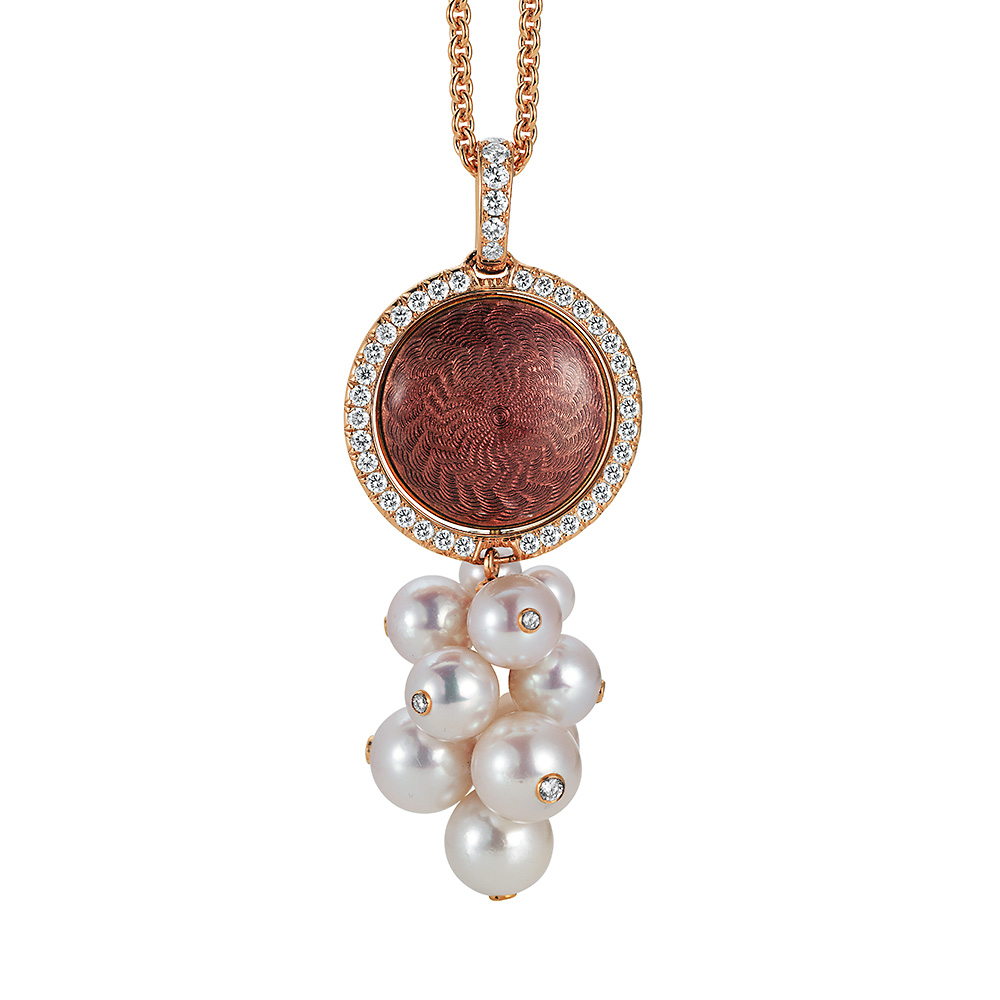 Gold pendant with red enameled guilloche, diamonds and Akoya pearls