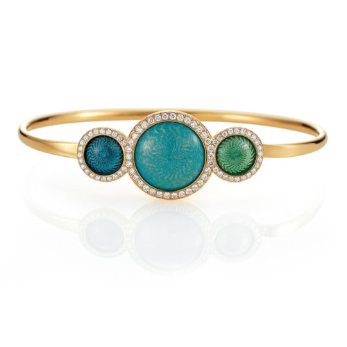 Gold bangle with blue and green enameled guilloche and diamonds