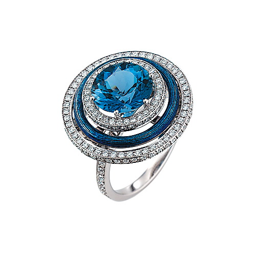Diamond-set, white-yellow ring with medium blue guilloche enamel and aquamarine