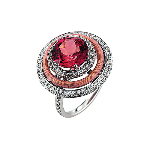 Diamond-set white-rose gold ring with opal white guilloche enamel and pink tourmaline