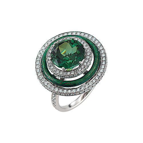 diamond-set, white-yellow gold ring with emerald green guilloche enamel and green tourmaline