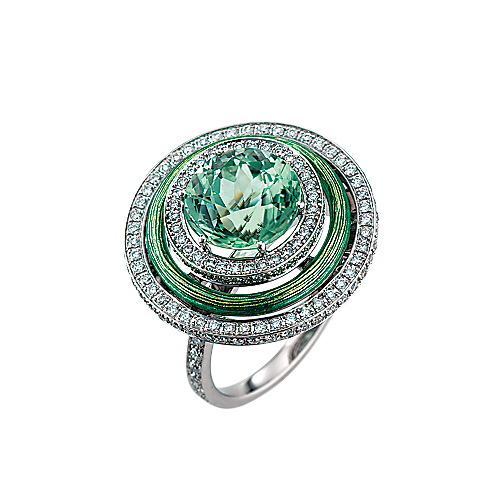 Diamond-set, white-yellow gold ring with turquoise guilloche enamel and green tourmaline
