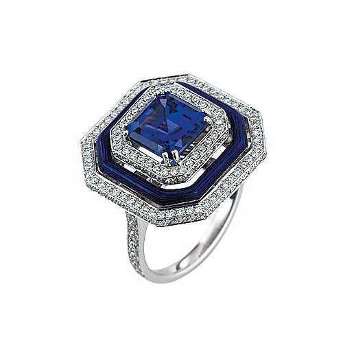 Diamond-set, white gold ring with blue guilloche enamel and tanzanite