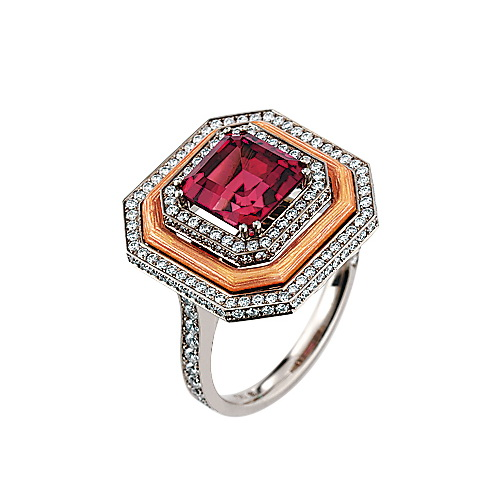 Diamond-set, white-rose-gold ring with transparent guilloche enamel with pink tourmaline