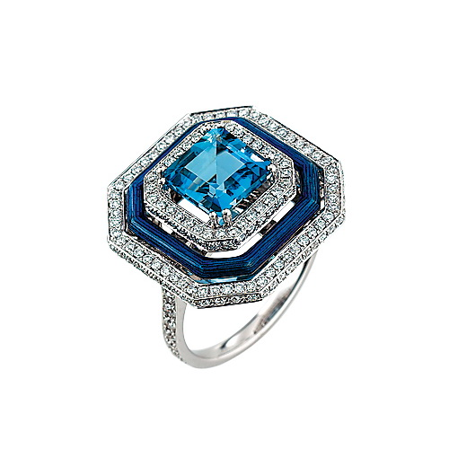 Diamond-set, white gold ring with medium blue guilloche enamel and aquamarine