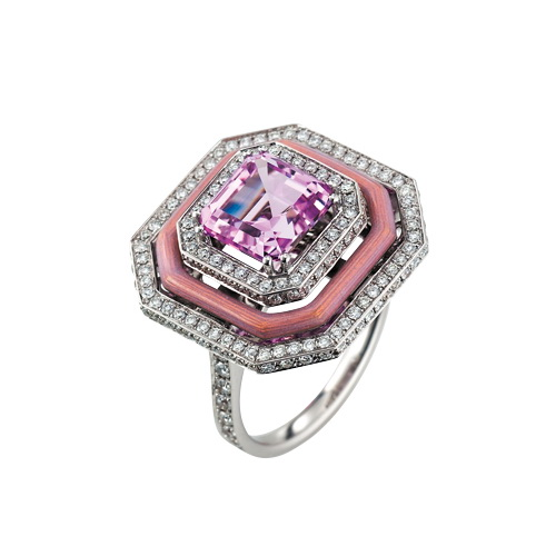 Diamond-set, white-rose-gold ring with opal white guilloche enamel and kunzite