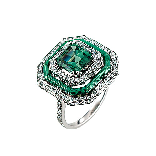 Diamond-set, white gold ring with turquoise guilloche enamel and green tourmaline