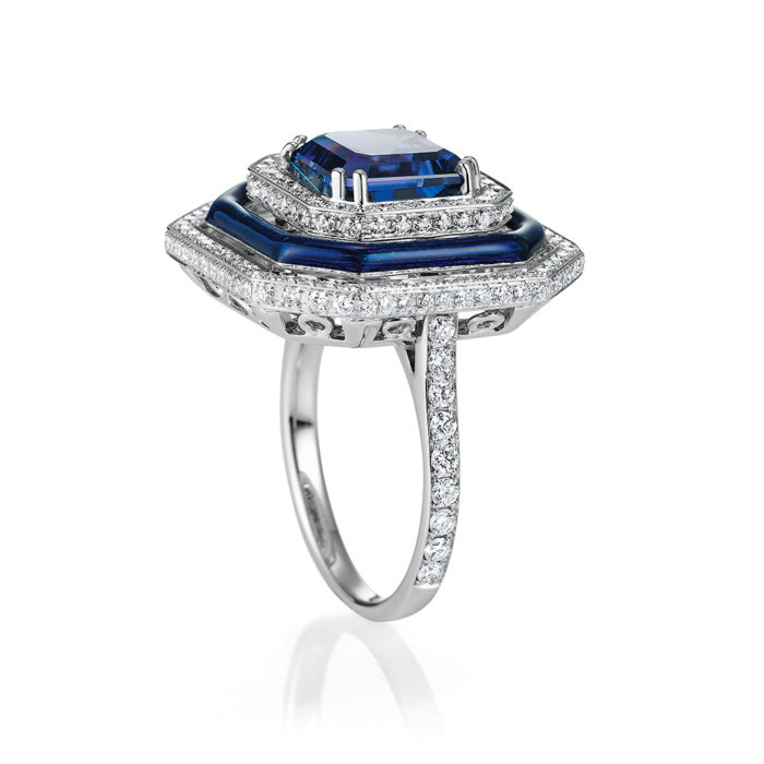 Gold-Ring mit Diamanten, blauem Emaille und blauem Edelstein