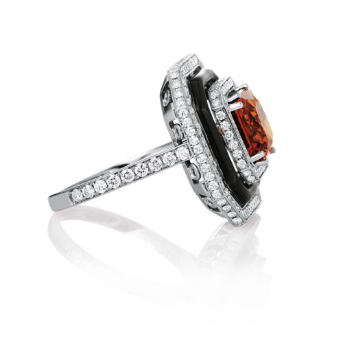 Diamond-set, white gold ring with grey guilloche enamel and mandarin garnet