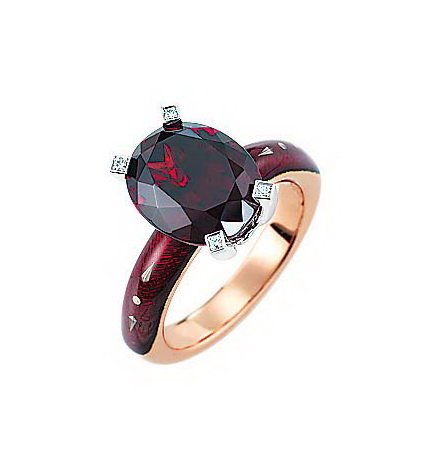 Diamond-set, rose-white gold ring with aubergine red guilloche enamel with ceylon garnet