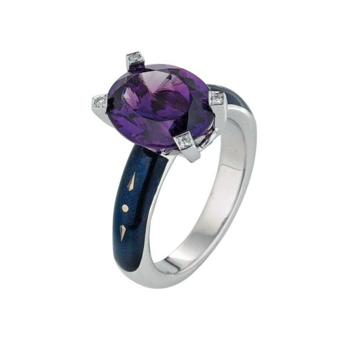 Diamond-set, white gold ring with anthracite guilloche enamel with amethyst