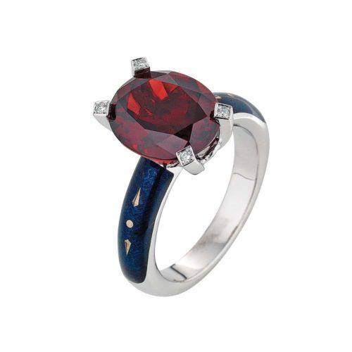 Diamant-besetzter Gold-Ring mit anthrazit emailliertem Guilloche und Ceylonn Granat