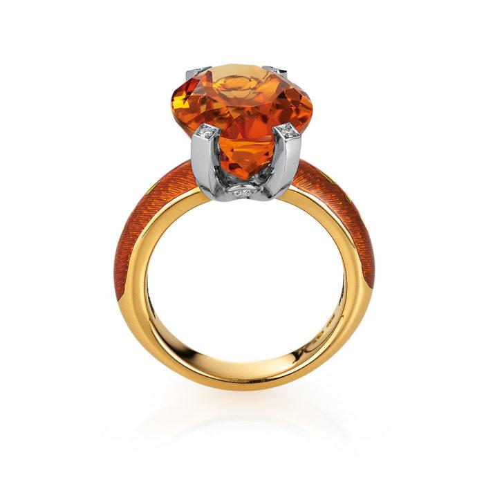 Diamant-besetzter Gold-Ring mit herbstgelb emailliertem Guilloche und Palmeira Citrin