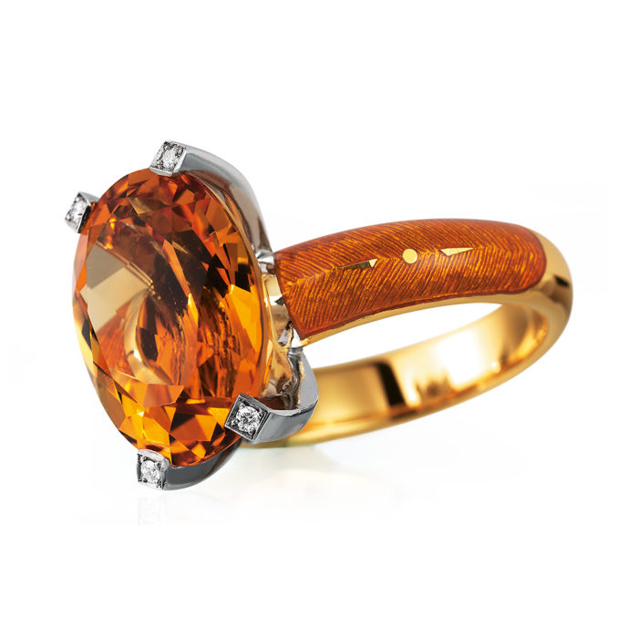 Diamond-set, yellow-white gold ring with autumn yellow guilloche enamel and Palmeiry citrine
