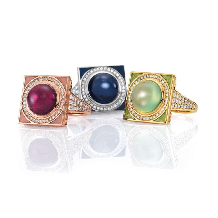Gold-Ringe mit Diamanten und bunten Edelsteinen