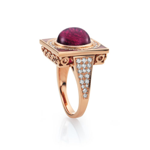 Diamond-set, rose gold ring with opal white guilloche enamel and rubellite
