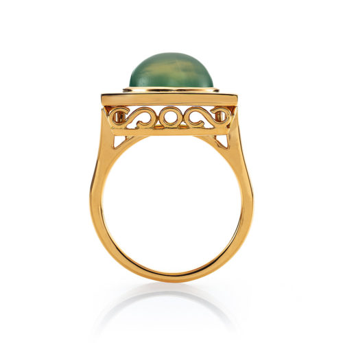 Diamond-set, yellow gold ring with pastel green guilloche enamel and prehnite