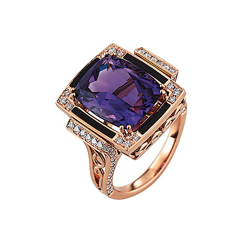 Diamond-set, rose gold ring with lilac guilloche enamel and amethyst