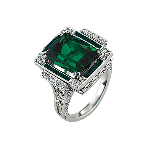 Diamond-set, white gold ring with emerald green guilloche enamel and green tourmaline
