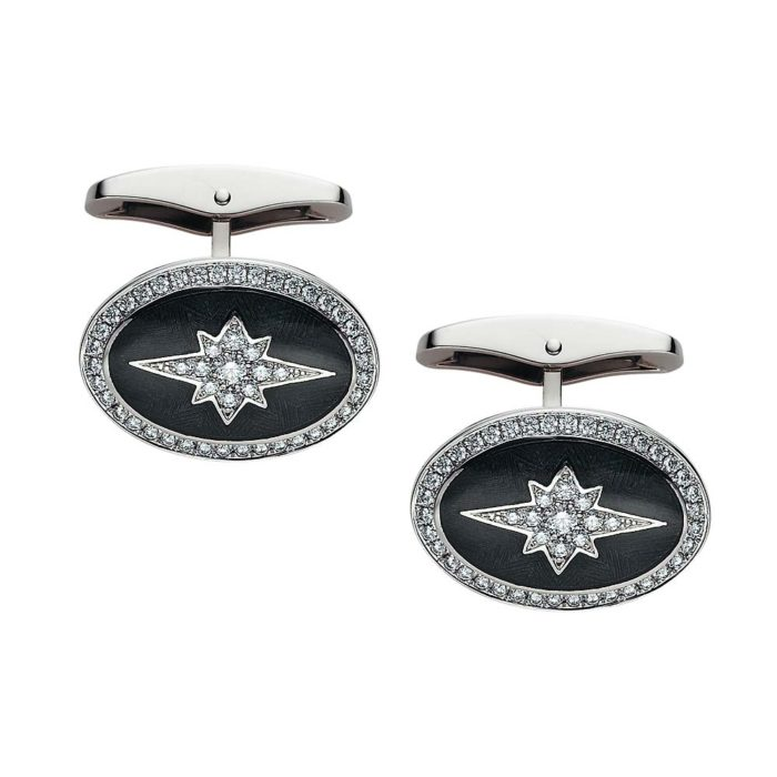 Gold cufflinks with grey enameled guilloche with diamonds