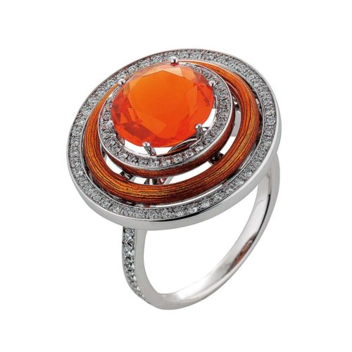 Diamond-set, white-yellow gold ring with autumn yellow guilloche enamel with mexican fire opal