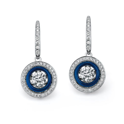 Diamond-set, white gold earrings with electric blue guilloche enamel