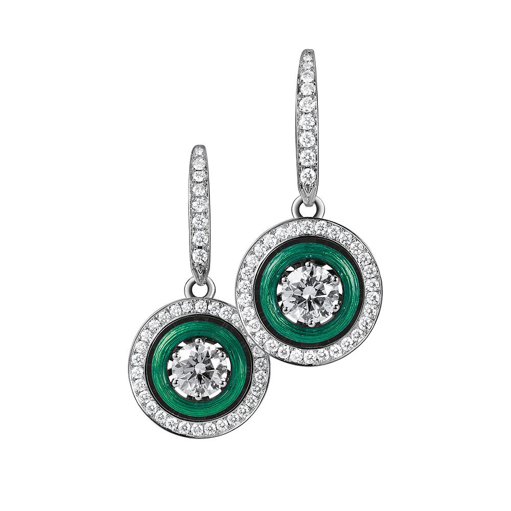 Diamond-set, white gold earrings with emerald green guilloche enamel