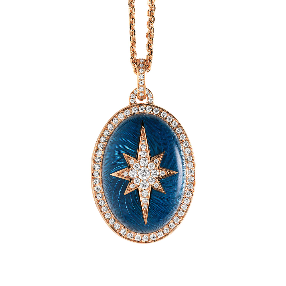 Gold locket with blue enamelled guilloche with diamonds to open for your own picture
